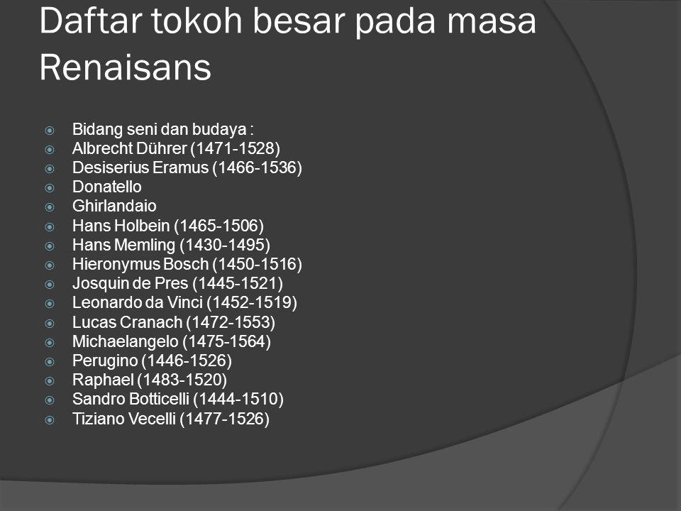 Daftar tokoh besar pada masa Renaisans  Bidang seni dan budaya :  Albrecht Dührer (1471-1528)  Desiserius Eramus (1466-1536)  Donatello  Ghirland
