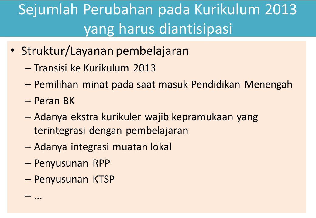 Sejumlah Perubahan pada Kurikulum 2013 yang harus diantisipasi Struktur/Layanan pembelajaran – Transisi ke Kurikulum 2013 – Pemilihan minat pada saat