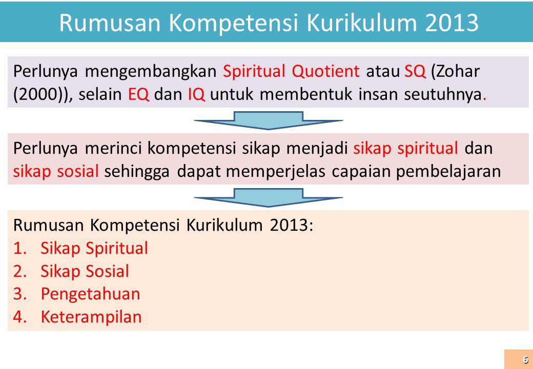 Rumusan Kompetensi Kurikulum 2013 6 Perlunya mengembangkan Spiritual Quotient atau SQ (Zohar (2000)), selain EQ dan IQ untuk membentuk insan seutuhnya