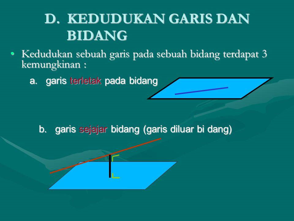 D. KEDUDUKAN GARIS DAN BIDANG Kedudukan sebuah garis pada sebuah bidang terdapat 3 kemungkinan :Kedudukan sebuah garis pada sebuah bidang terdapat 3 k
