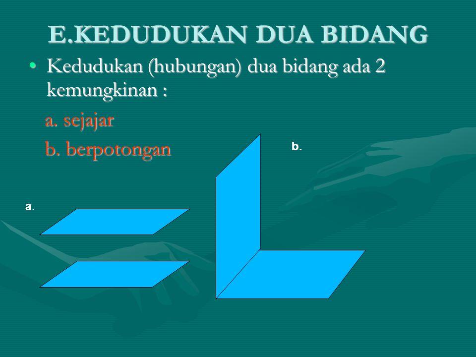 E.KEDUDUKAN DUA BIDANG Kedudukan (hubungan) dua bidang ada 2 kemungkinan :Kedudukan (hubungan) dua bidang ada 2 kemungkinan : a. sejajar a. sejajar b.