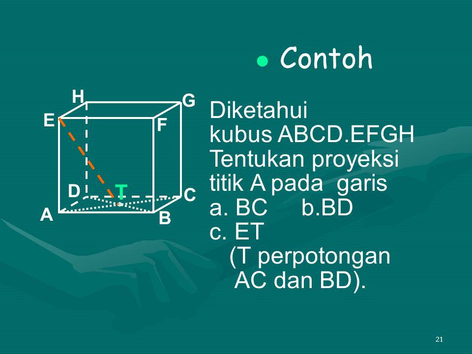 21 Contoh Diketahui kubus ABCD.EFGH Tentukan proyeksi titik A pada garis a. BC b.BD c. ET (T perpotongan AC dan BD). A B C D H E F G T