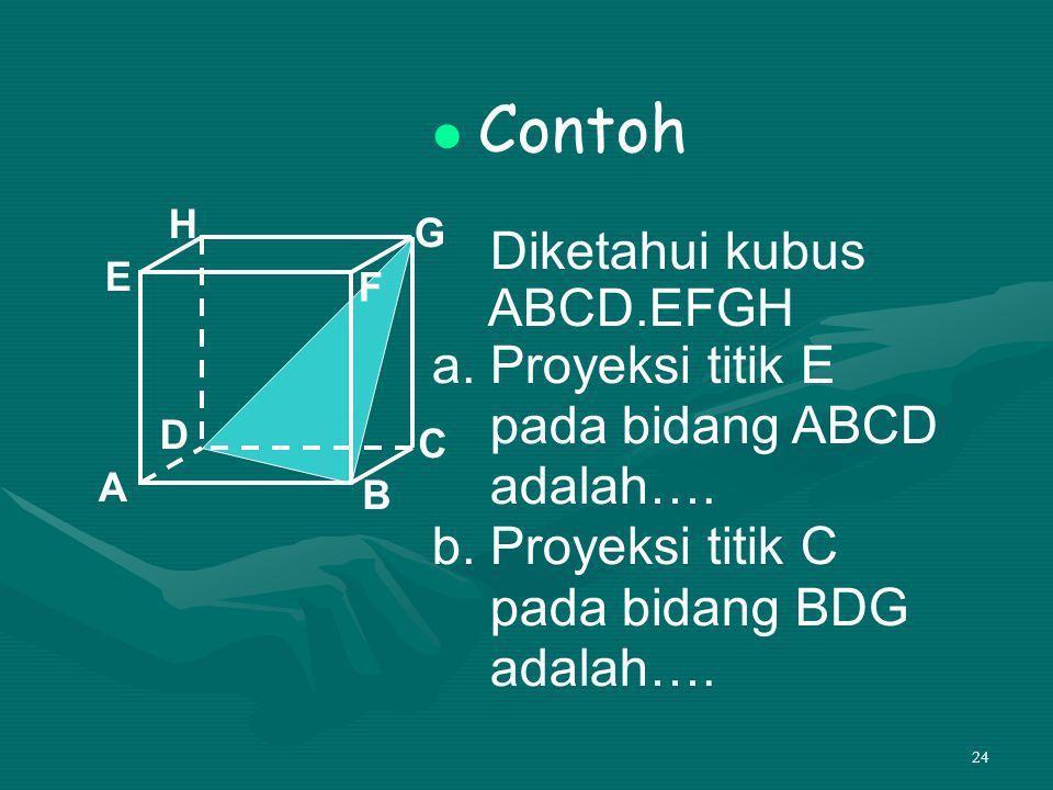 24 Contoh Diketahui kubus ABCD.EFGH a. Proyeksi titik E pada bidang ABCD adalah…. b. Proyeksi titik C pada bidang BDG adalah…. A B C D H E F G