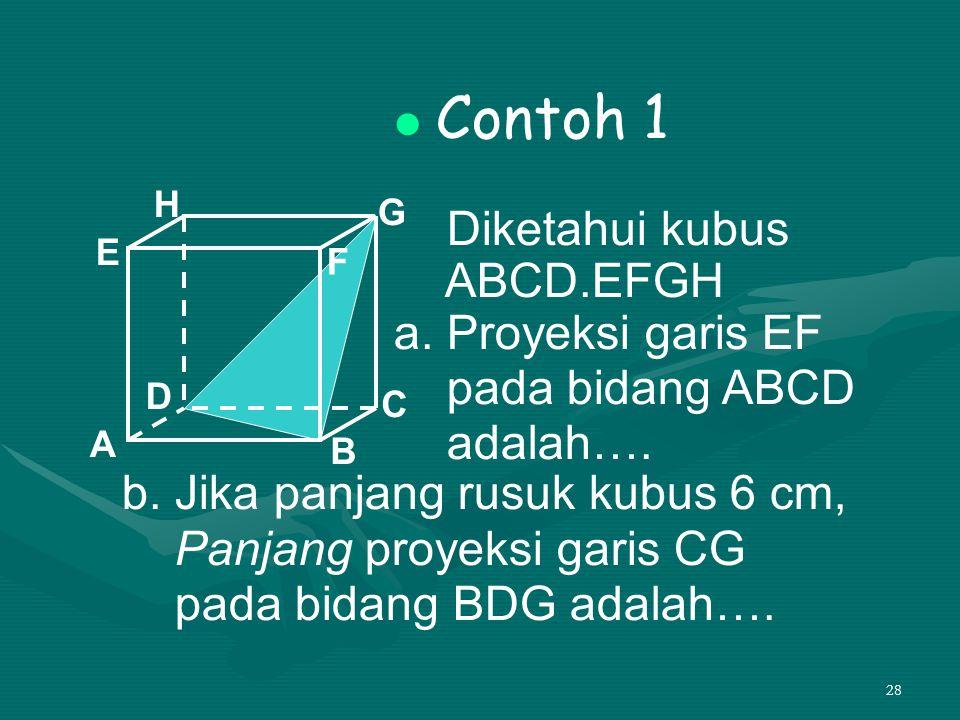 28 Contoh 1 Diketahui kubus ABCD.EFGH a. Proyeksi garis EF pada bidang ABCD adalah…. A B C D H E F G b. Jika panjang rusuk kubus 6 cm, Panjang proyeks
