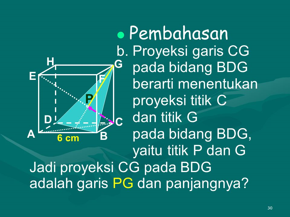 30 Pembahasan b. Proyeksi garis CG pada bidang BDG berarti menentukan proyeksi titik C dan titik G pada bidang BDG, yaitu titik P dan G A B C D H E F