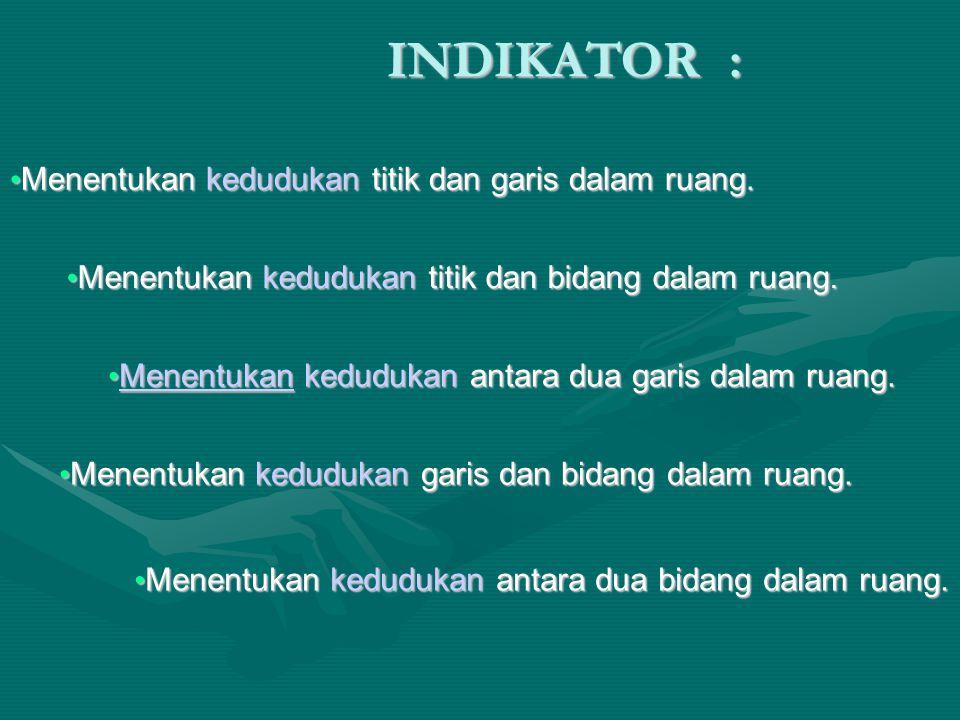 INDIKATOR : Menentukan kedudukan titik dan garis dalam ruang. Menentukan kedudukan titik dan garis dalam ruang. Menentukan kedudukan titik dan garis d