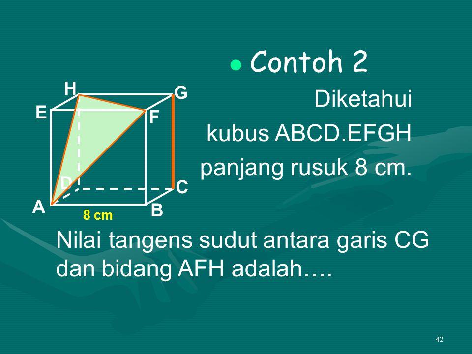 42 Contoh 2 Diketahui kubus ABCD.EFGH panjang rusuk 8 cm. A B C D H E F G 8 cm Nilai tangens sudut antara garis CG dan bidang AFH adalah….
