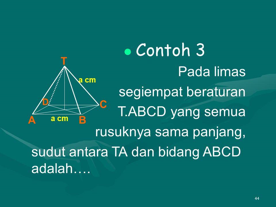44 Contoh 3 Pada limas segiempat beraturan T.ABCD yang semua rusuknya sama panjang, sudut antara TA dan bidang ABCD adalah…. T AB C D a cm