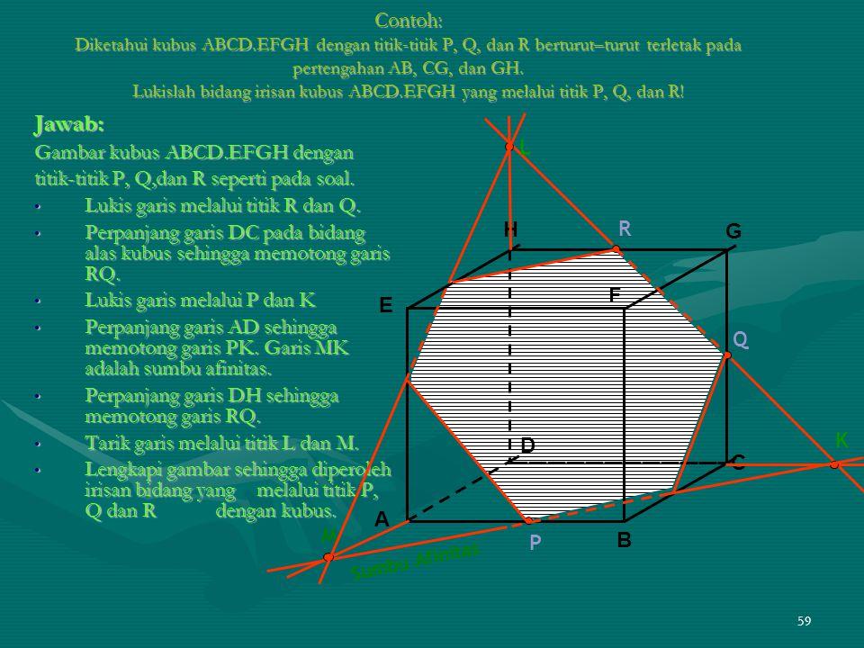 59 Contoh: Diketahui kubus ABCD.EFGH dengan titik-titik P, Q, dan R berturut–turut terletak pada pertengahan AB, CG, dan GH. Lukislah bidang irisan ku