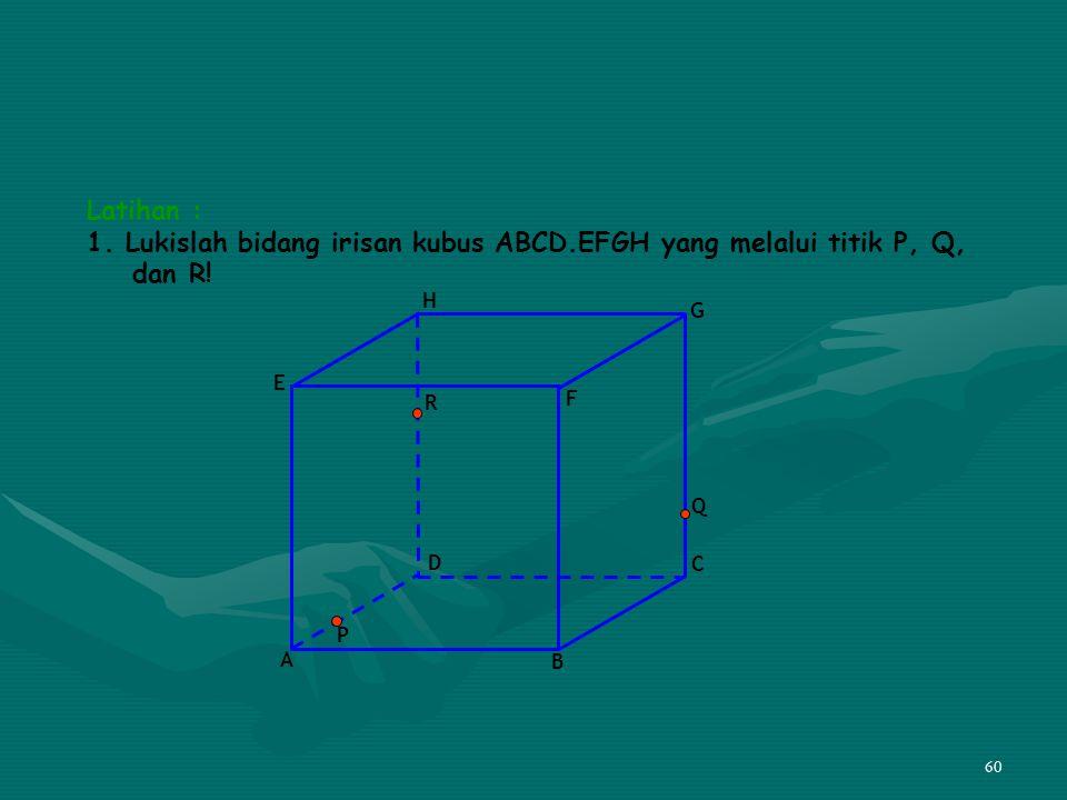 60 Latihan : 1. Lukislah bidang irisan kubus ABCD.EFGH yang melalui titik P, Q, dan R! A B C D E F G H P Q R