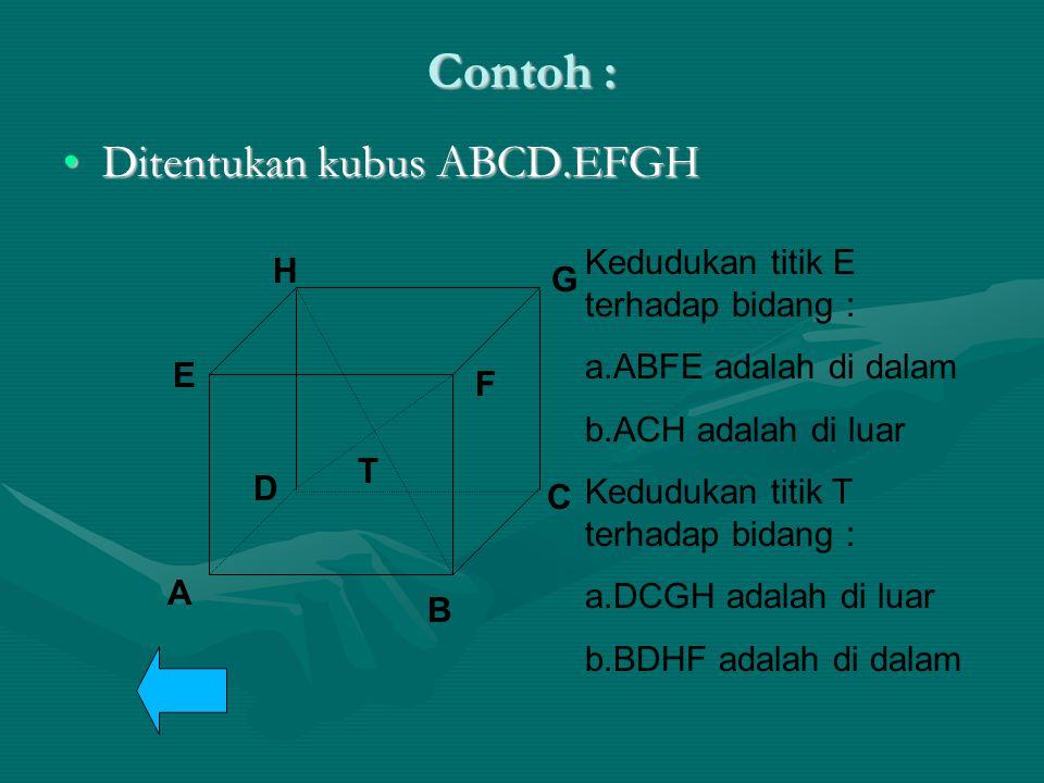 Contoh : Ditentukan kubus ABCD.EFGHDitentukan kubus ABCD.EFGH A B C D E F G H T Kedudukan titik E terhadap bidang : a.ABFE adalah di dalam b.ACH adala
