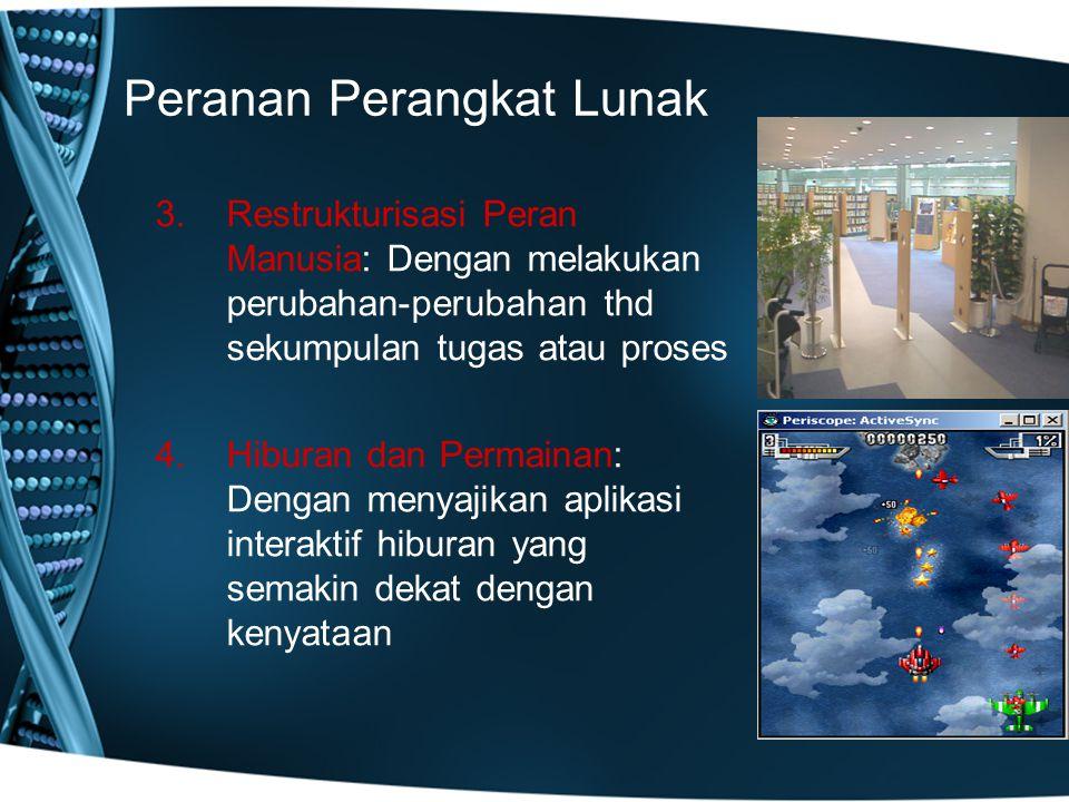 Peranan Perangkat Lunak 3.Restrukturisasi Peran Manusia: Dengan melakukan perubahan-perubahan thd sekumpulan tugas atau proses 4.Hiburan dan Permainan