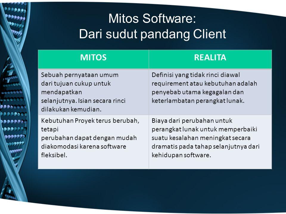 Mitos Software: Dari sudut pandang Client MITOSREALITA Sebuah pernyataan umum dari tujuan cukup untuk mendapatkan selanjutnya. Isian secara rinci dila