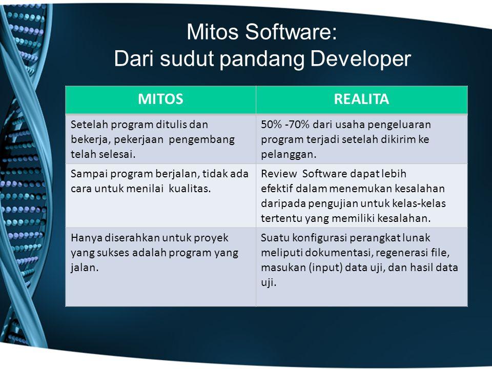 Mitos Software: Dari sudut pandang Developer MITOSREALITA Setelah program ditulis dan bekerja, pekerjaan pengembang telah selesai.