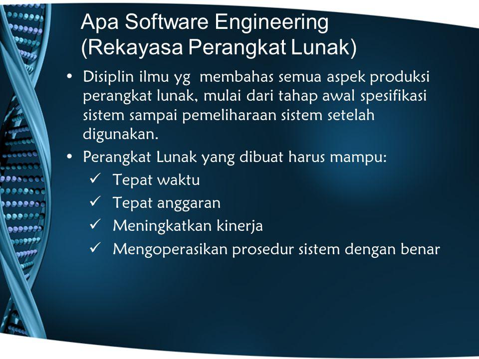 Apa Software Engineering (Rekayasa Perangkat Lunak) Disiplin ilmu yg membahas semua aspek produksi perangkat lunak, mulai dari tahap awal spesifikasi sistem sampai pemeliharaan sistem setelah digunakan.