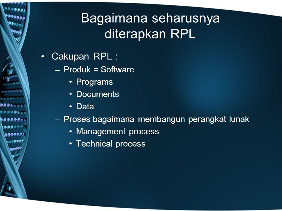 Bagaimana seharusnya diterapkan RPL Cakupan RPL : –Produk = Software Programs Documents Data –Proses bagaimana membangun perangkat lunak Management process Technical process