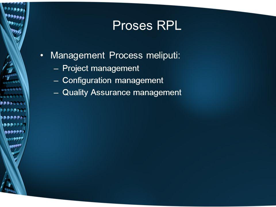 Proses RPL Management Process meliputi: –Project management –Configuration management –Quality Assurance management