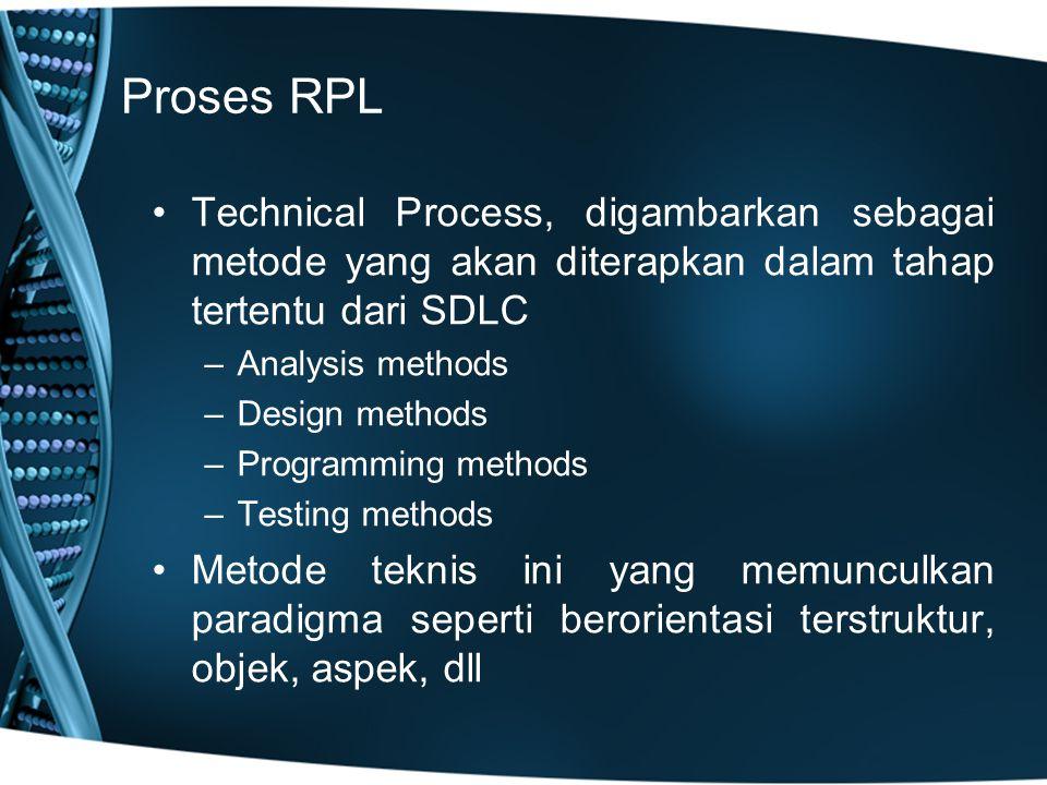 Proses RPL Technical Process, digambarkan sebagai metode yang akan diterapkan dalam tahap tertentu dari SDLC –Analysis methods –Design methods –Programming methods –Testing methods Metode teknis ini yang memunculkan paradigma seperti berorientasi terstruktur, objek, aspek, dll