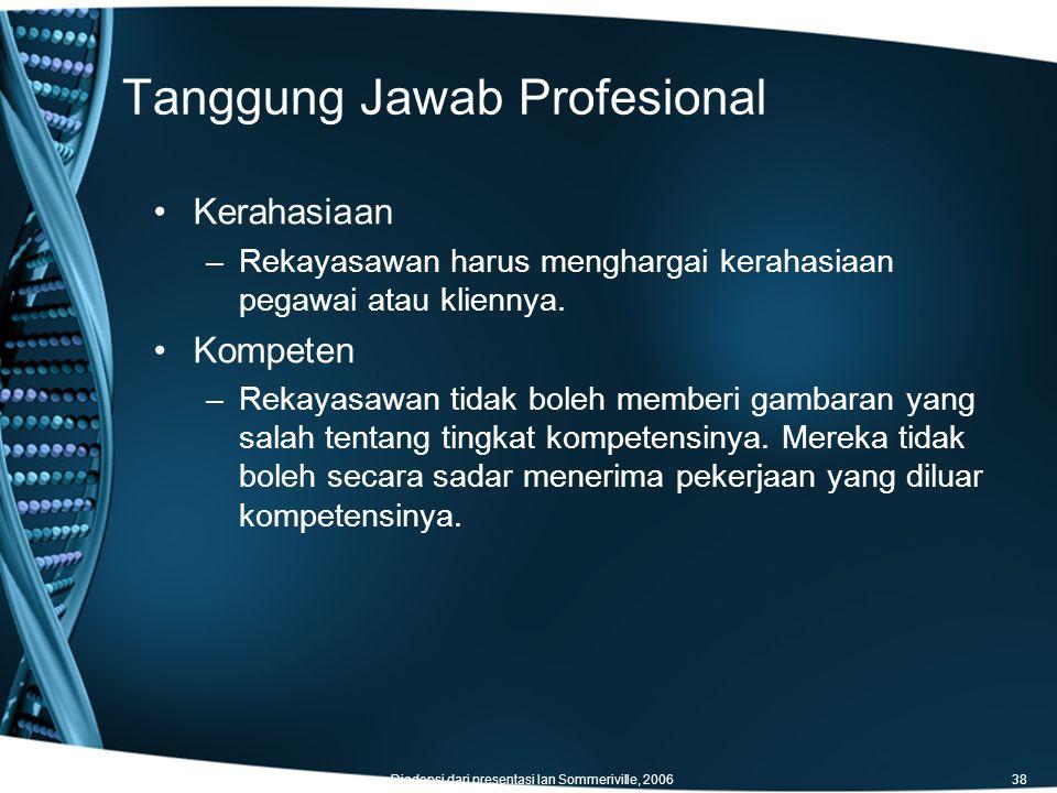 Tanggung Jawab Profesional Diadopsi dari presentasi Ian Sommeriville, 200638 Kerahasiaan –Rekayasawan harus menghargai kerahasiaan pegawai atau kliennya.