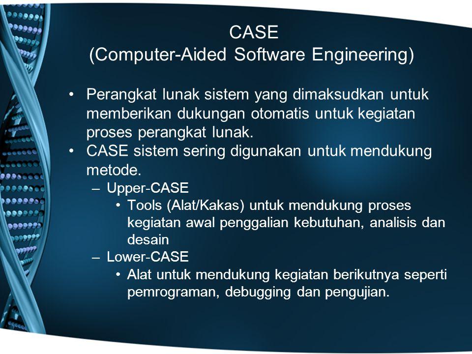 CASE (Computer-Aided Software Engineering) Perangkat lunak sistem yang dimaksudkan untuk memberikan dukungan otomatis untuk kegiatan proses perangkat lunak.