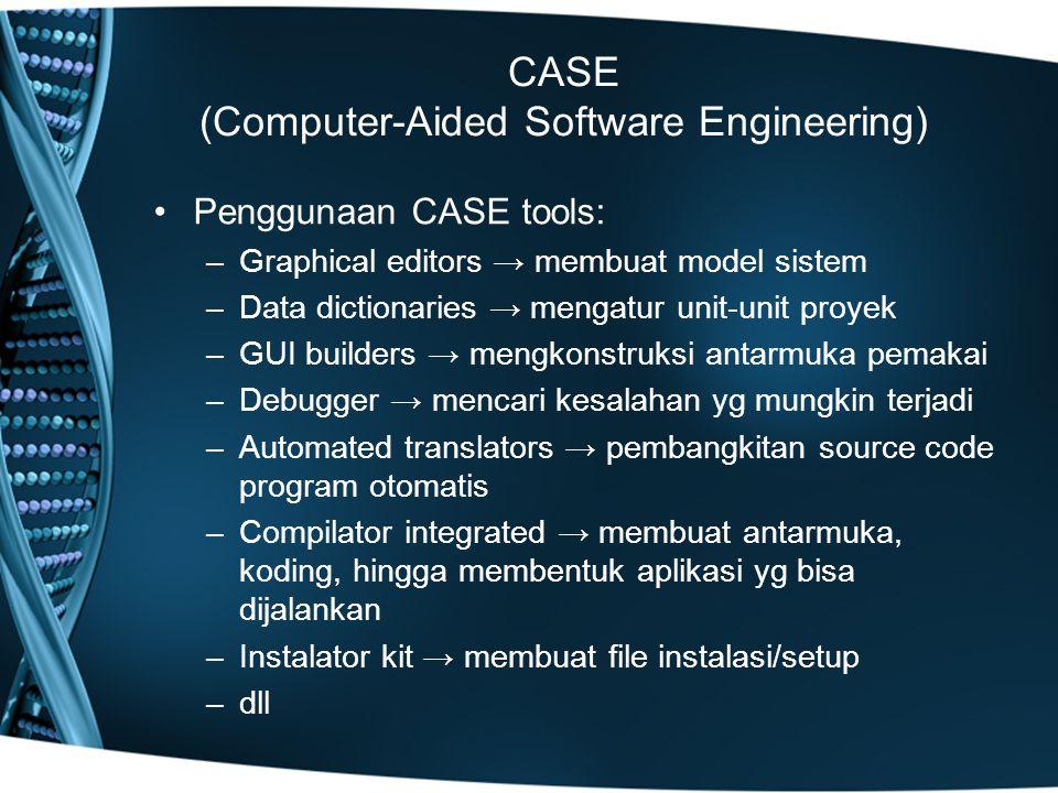 CASE (Computer-Aided Software Engineering) Penggunaan CASE tools: –Graphical editors → membuat model sistem –Data dictionaries → mengatur unit-unit pr