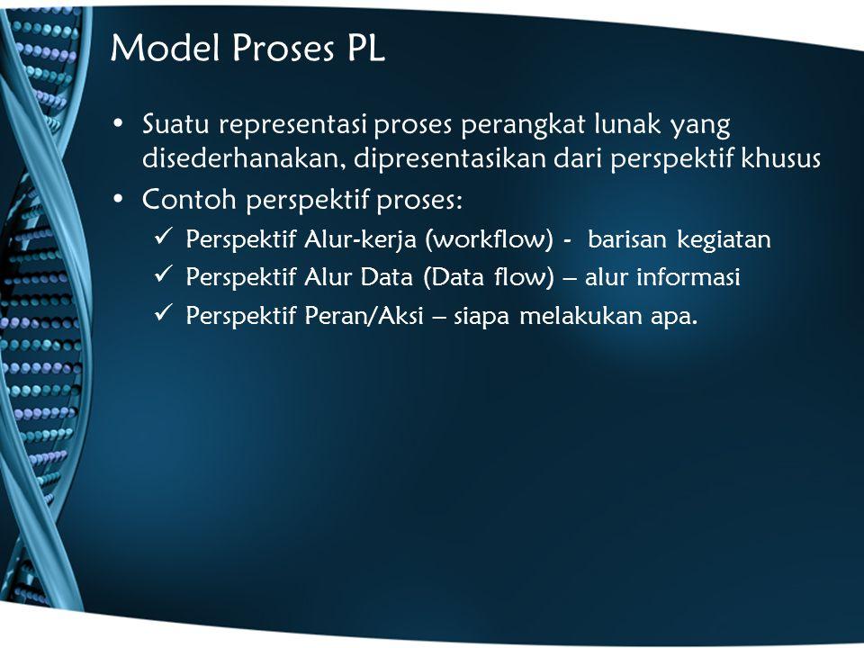 Model Proses PL Suatu representasi proses perangkat lunak yang disederhanakan, dipresentasikan dari perspektif khusus Contoh perspektif proses: Perspektif Alur-kerja (workflow) - barisan kegiatan Perspektif Alur Data (Data flow) – alur informasi Perspektif Peran/Aksi – siapa melakukan apa.
