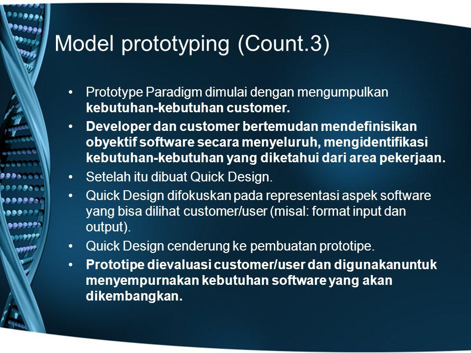 Model prototyping (Count.3) Prototype Paradigm dimulai dengan mengumpulkan kebutuhan-kebutuhan customer. Developer dan customer bertemudan mendefinisi
