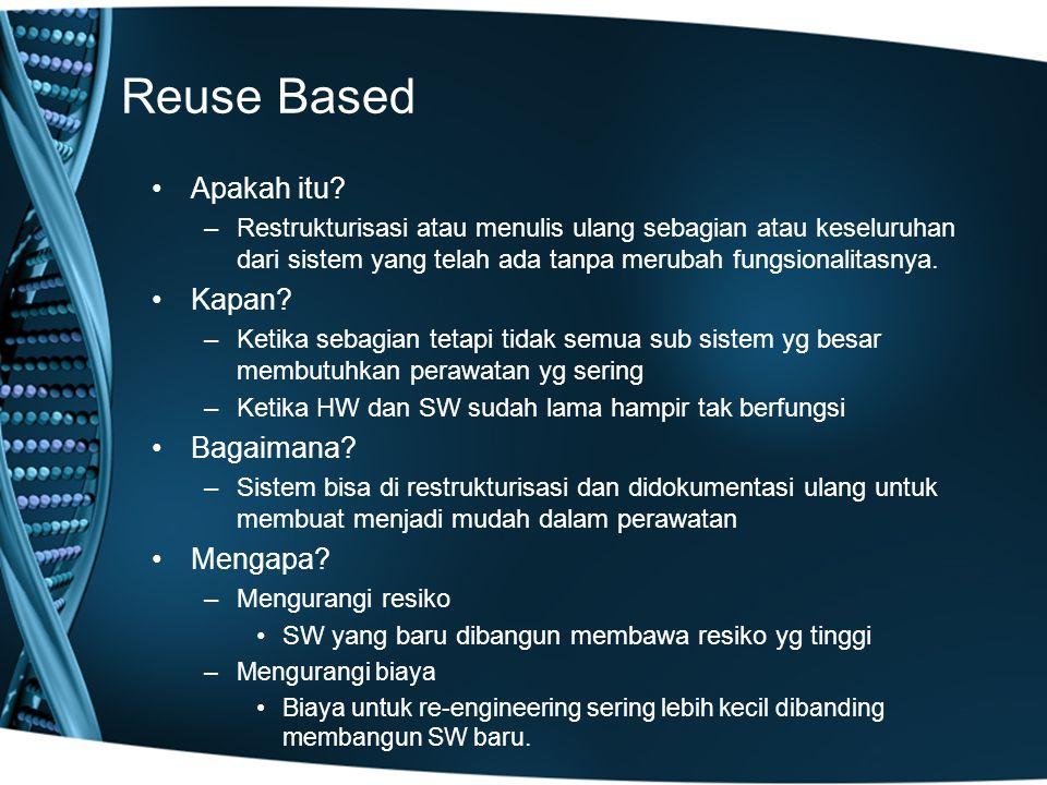 Reuse Based Apakah itu? –Restrukturisasi atau menulis ulang sebagian atau keseluruhan dari sistem yang telah ada tanpa merubah fungsionalitasnya. Kapa