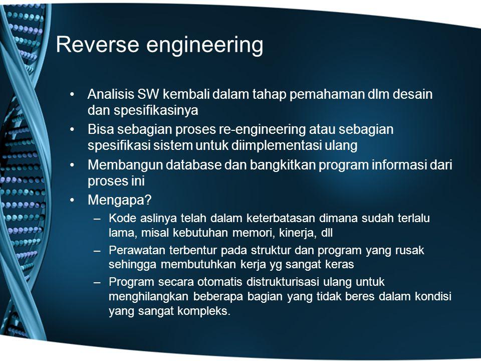 Reverse engineering Analisis SW kembali dalam tahap pemahaman dlm desain dan spesifikasinya Bisa sebagian proses re-engineering atau sebagian spesifikasi sistem untuk diimplementasi ulang Membangun database dan bangkitkan program informasi dari proses ini Mengapa.