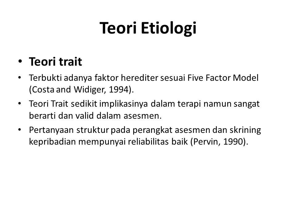 Teori Etiologi Teori trait Terbukti adanya faktor herediter sesuai Five Factor Model (Costa and Widiger, 1994).