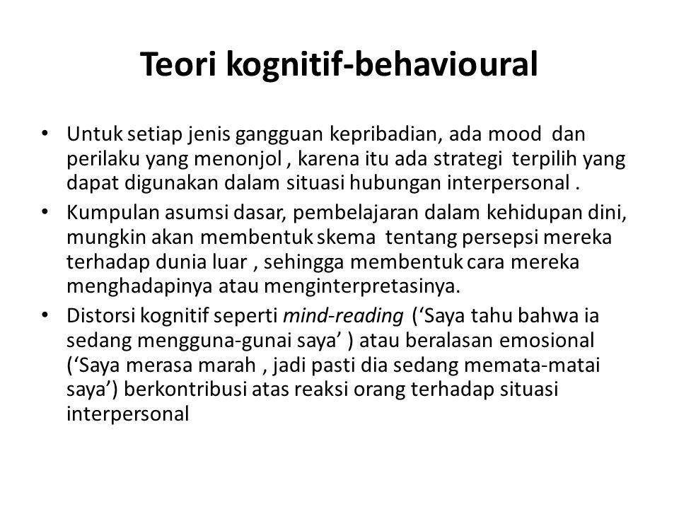 Teori kognitif-behavioural Untuk setiap jenis gangguan kepribadian, ada mood dan perilaku yang menonjol, karena itu ada strategi terpilih yang dapat digunakan dalam situasi hubungan interpersonal.