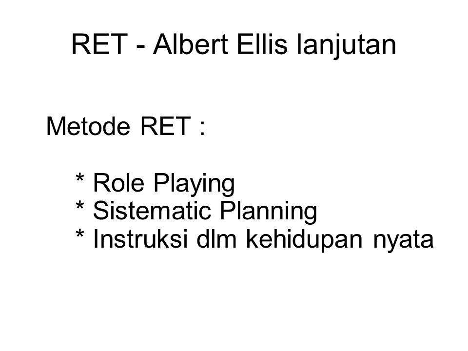 RET - Albert Ellis lanjutan Metode RET : * Role Playing * Sistematic Planning * Instruksi dlm kehidupan nyata