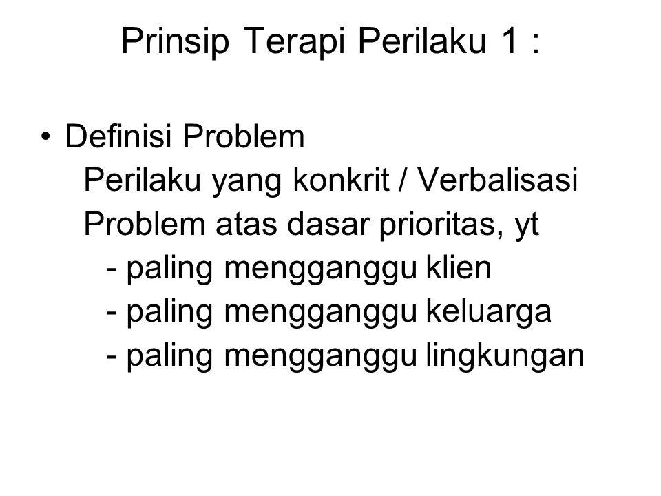 Prinsip Terapi Perilaku 1 : Definisi Problem Perilaku yang konkrit / Verbalisasi Problem atas dasar prioritas, yt - paling mengganggu klien - paling mengganggu keluarga - paling mengganggu lingkungan