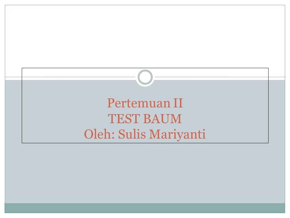 Pertemuan II TEST BAUM Oleh: Sulis Mariyanti