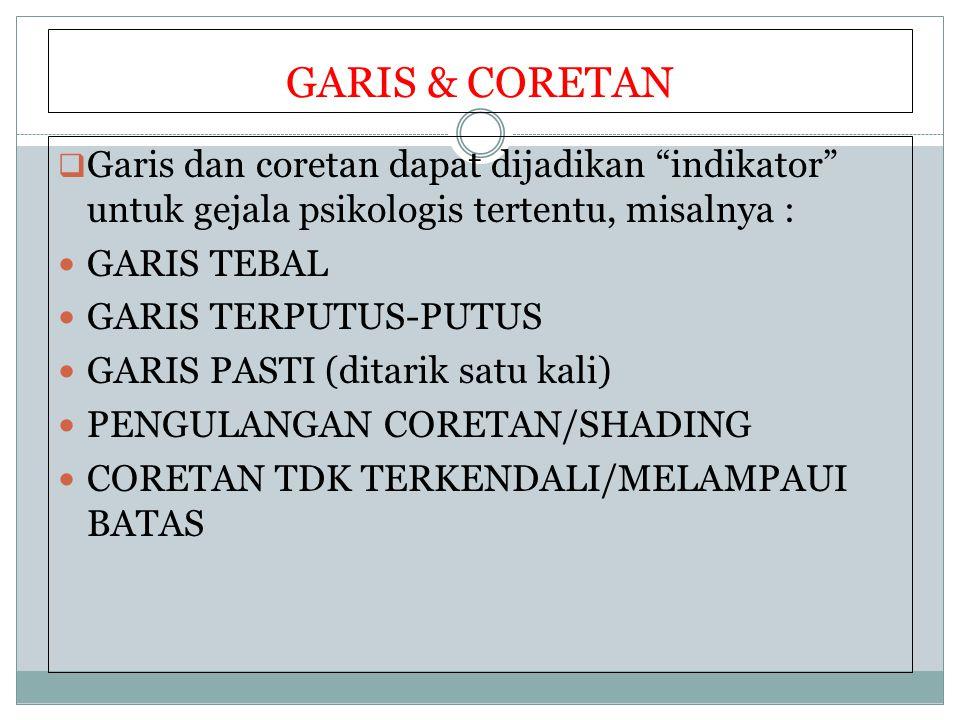 "GARIS & CORETAN  Garis dan coretan dapat dijadikan ""indikator"" untuk gejala psikologis tertentu, misalnya : GARIS TEBAL GARIS TERPUTUS-PUTUS GARIS PA"