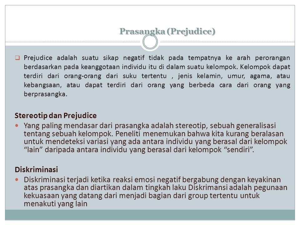 Prasangka (Prejudice)  Prejudice adalah suatu sikap negatif tidak pada tempatnya ke arah perorangan berdasarkan pada keanggotaan individu itu di dalam suatu kelompok.