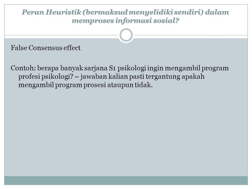 Peran Heuristik (bermaksud menyelidiki sendiri) dalam memproses informasi sosial.