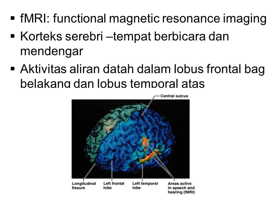  fMRI: functional magnetic resonance imaging  Korteks serebri –tempat berbicara dan mendengar  Aktivitas aliran datah dalam lobus frontal bag belakang dan lobus temporal atas
