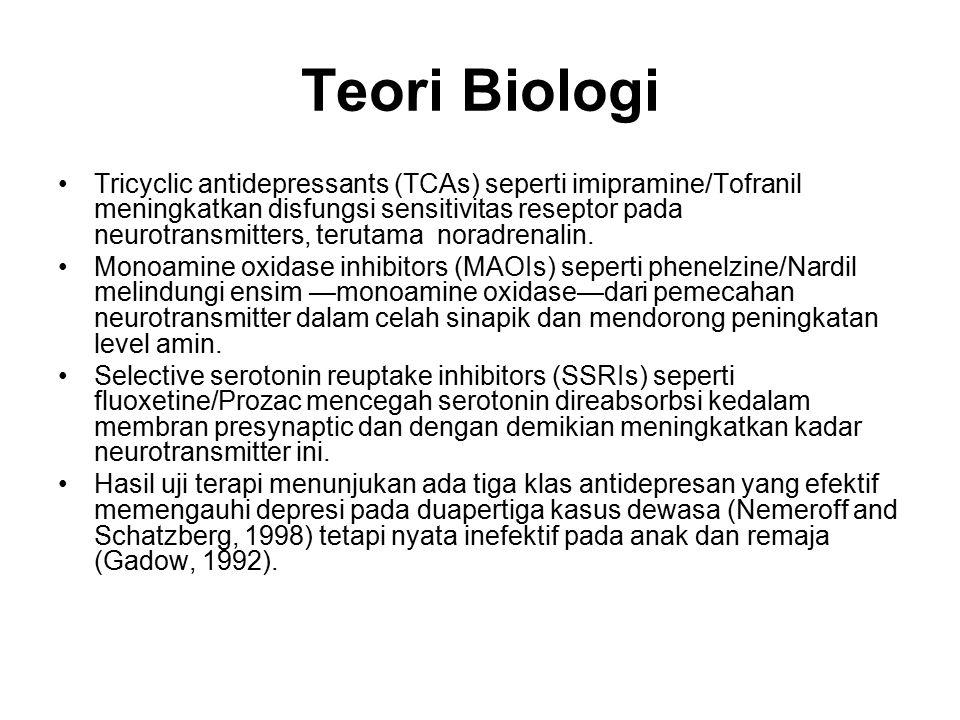 Teori Biologi Tricyclic antidepressants (TCAs) seperti imipramine/Tofranil meningkatkan disfungsi sensitivitas reseptor pada neurotransmitters, teruta