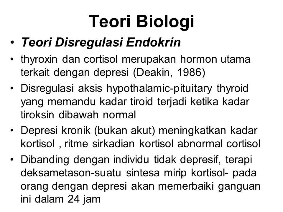 Teori Biologi Teori Disregulasi Endokrin thyroxin dan cortisol merupakan hormon utama terkait dengan depresi (Deakin, 1986) Disregulasi aksis hypothal