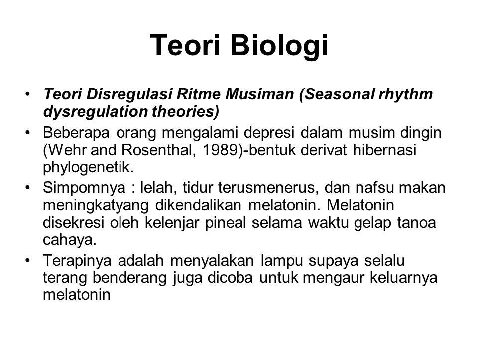 Teori Biologi Teori Disregulasi Ritme Musiman (Seasonal rhythm dysregulation theories) Beberapa orang mengalami depresi dalam musim dingin (Wehr and R