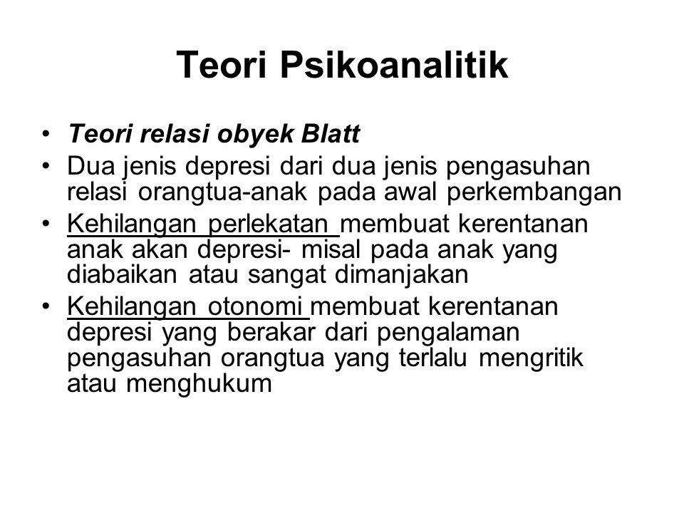 Teori Psikoanalitik Teori relasi obyek Blatt Dua jenis depresi dari dua jenis pengasuhan relasi orangtua-anak pada awal perkembangan Kehilangan perlek