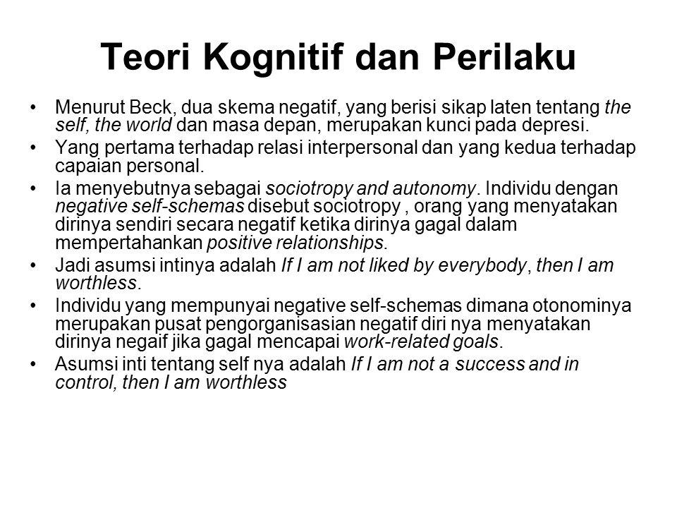 Teori Kognitif dan Perilaku Menurut Beck, dua skema negatif, yang berisi sikap laten tentang the self, the world dan masa depan, merupakan kunci pada