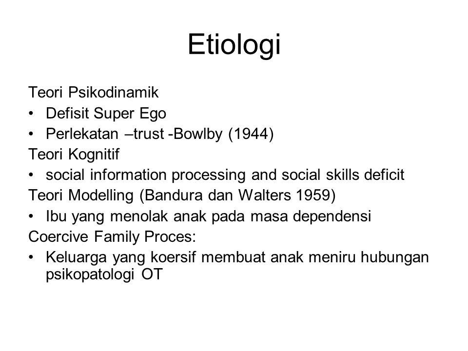 Etiologi Teori Psikodinamik Defisit Super Ego Perlekatan –trust -Bowlby (1944) Teori Kognitif social information processing and social skills deficit