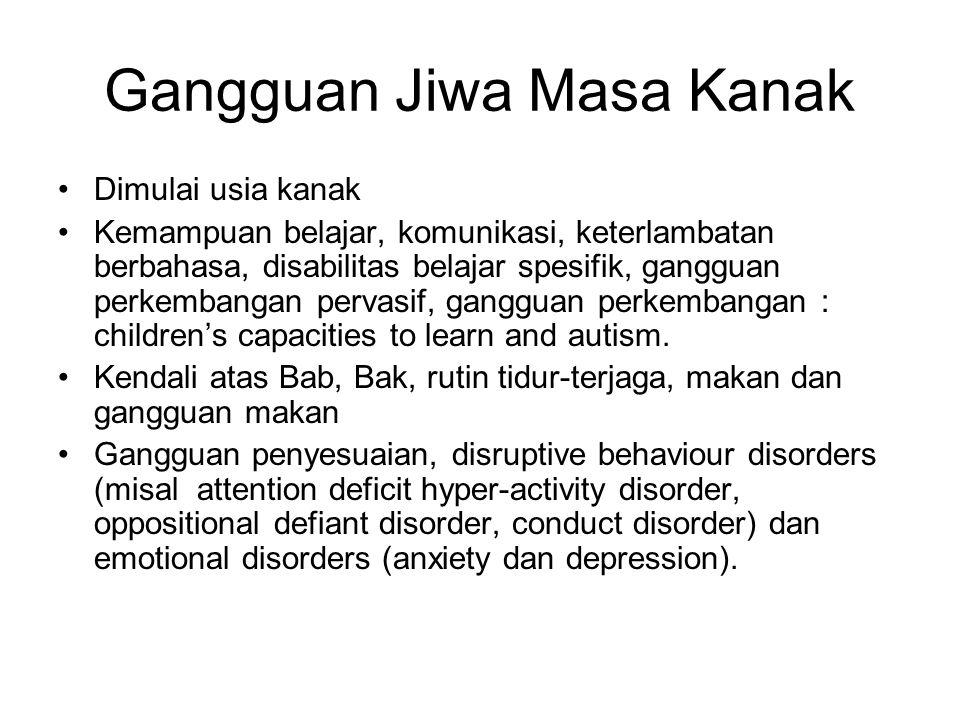 Gangguan Jiwa Masa Kanak Dimulai usia kanak Kemampuan belajar, komunikasi, keterlambatan berbahasa, disabilitas belajar spesifik, gangguan perkembanga