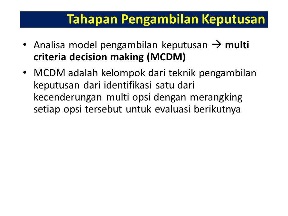 Tahapan Pengambilan Keputusan Analisa model pengambilan keputusan  multi criteria decision making (MCDM) MCDM adalah kelompok dari teknik pengambilan keputusan dari identifikasi satu dari kecenderungan multi opsi dengan merangking setiap opsi tersebut untuk evaluasi berikutnya