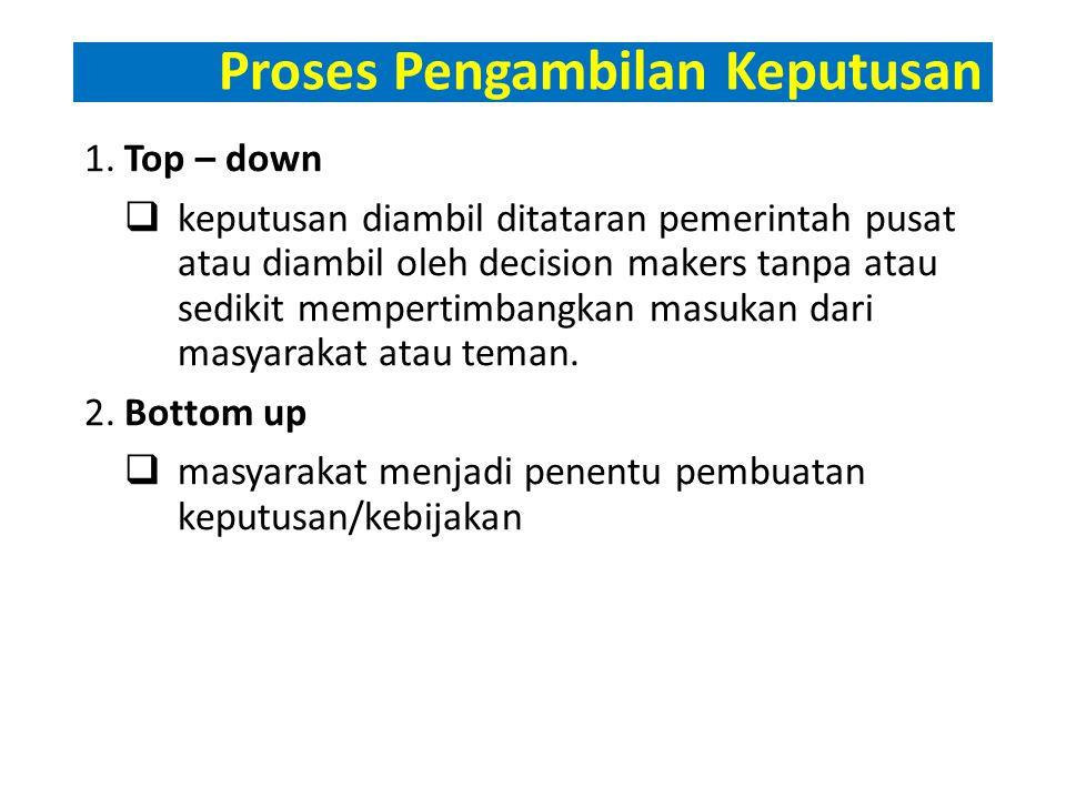 Proses Pengambilan Keputusan 1.Top – down  keputusan diambil ditataran pemerintah pusat atau diambil oleh decision makers tanpa atau sedikit mempertimbangkan masukan dari masyarakat atau teman.