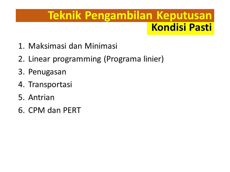 Teknik Pengambilan Keputusan 1.Maksimasi dan Minimasi 2.Linear programming (Programa linier) 3.Penugasan 4.Transportasi 5.Antrian 6.CPM dan PERT Kondisi Pasti