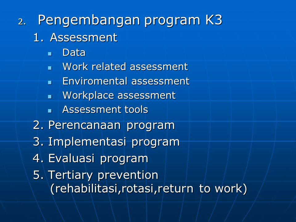 2. Pengembangan program K3 1.Assessment Data Data Work related assessment Work related assessment Enviromental assessment Enviromental assessment Work