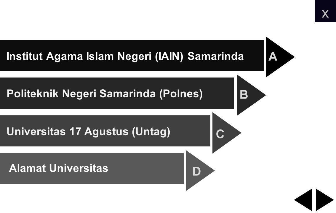 Institut Agama Islam Negeri (IAIN) Samarinda Politeknik Negeri Samarinda (Polnes) Universitas 17 Agustus (Untag) Alamat Universitas A B C D x